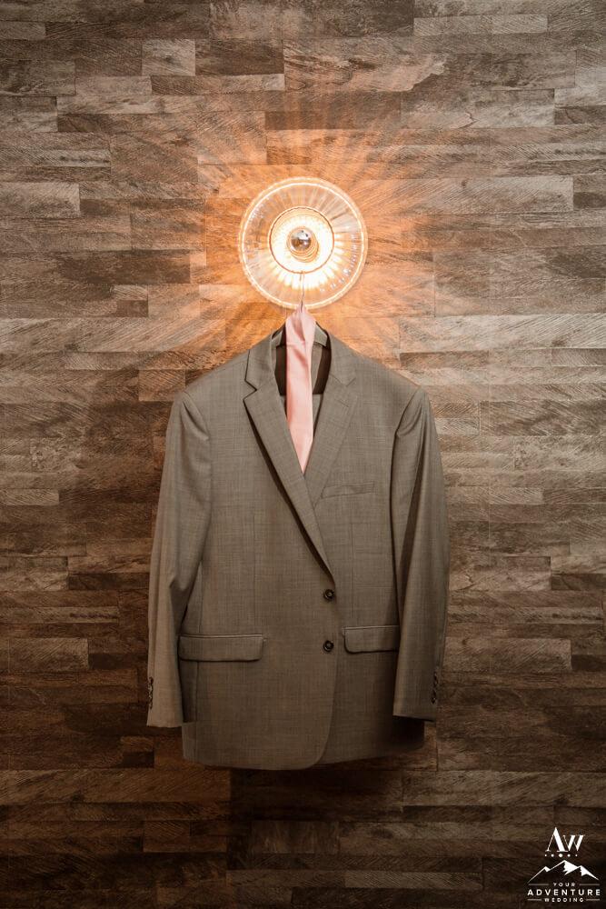 Iceland Wedding Grooms Suit Hanging
