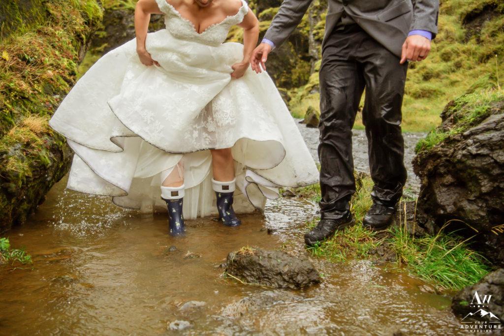 Couple Soaked on Iceland Wedding Day