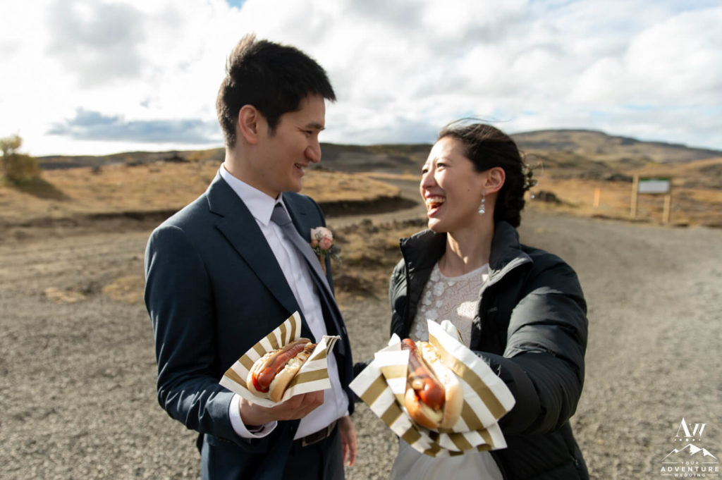 Iceland Wedding Couple with traditional hot dogs