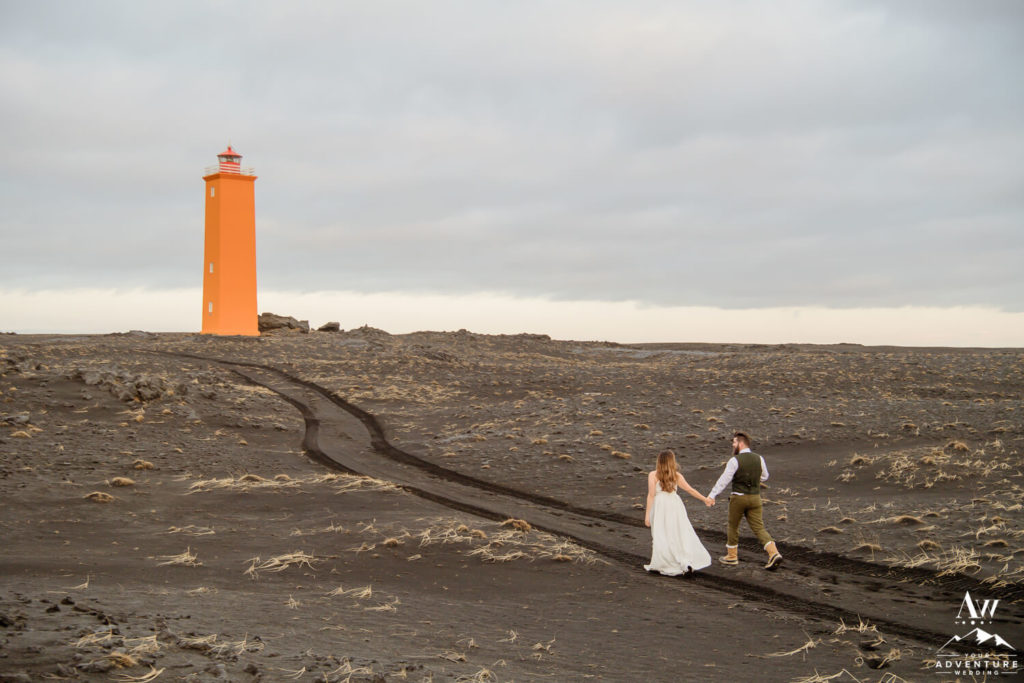 Historical Lighthouse wedding photos in Iceland