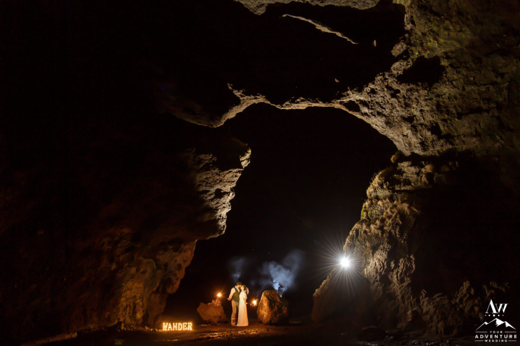 Nighttime Wedding photos in an Iceland Cave