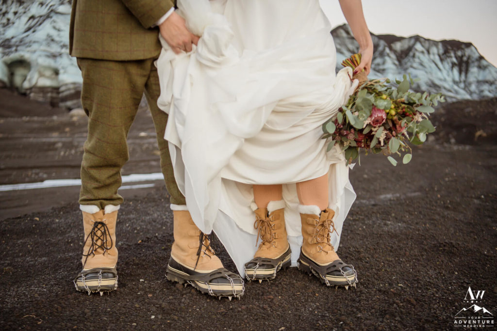 Iceland elopement couple wearing crampons