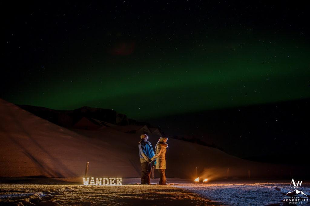 Iceland Wedding Couple under Northern Lights
