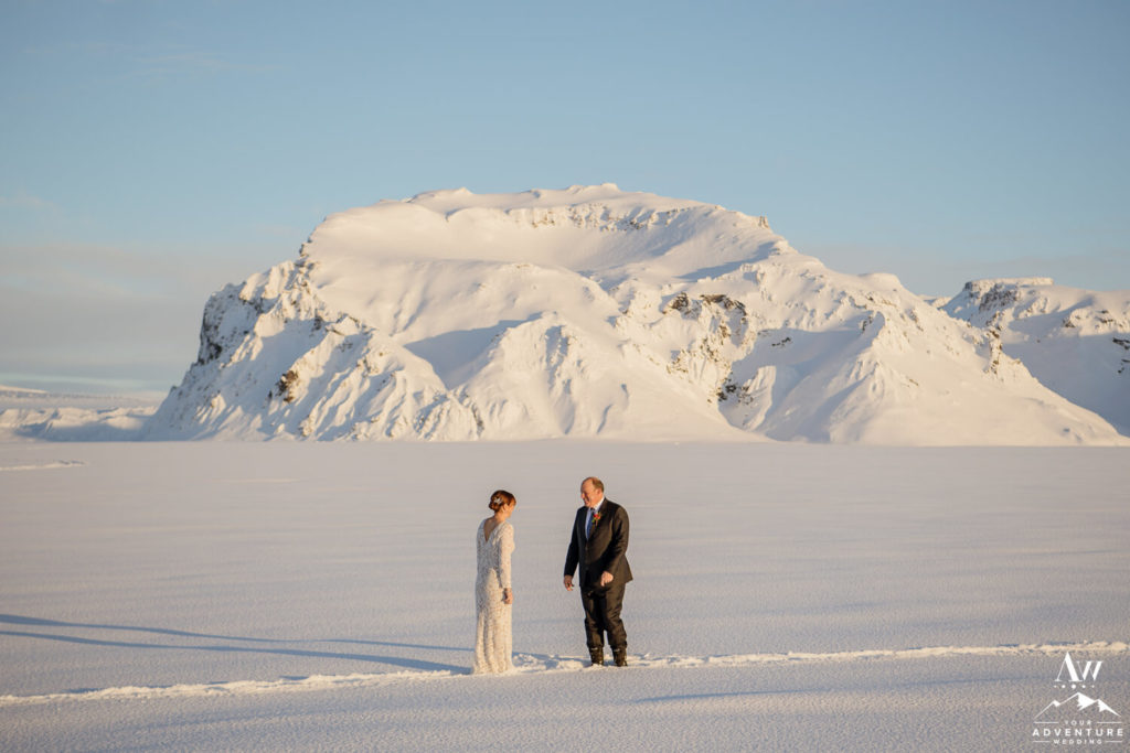 Iceland Wedding First Look in front of a mountain