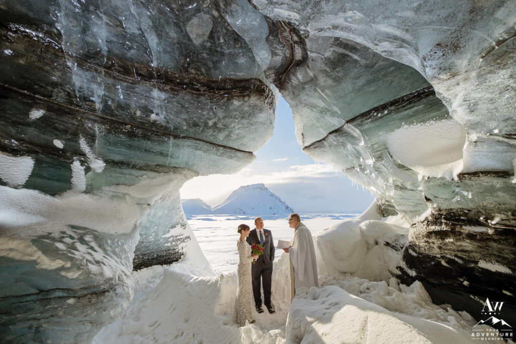 Icy Elopement inside an ice cave