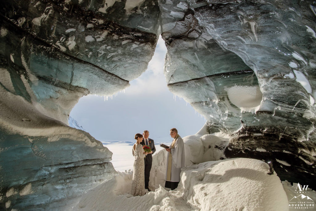 Iceland Wedding Couple eloping in an ice cave