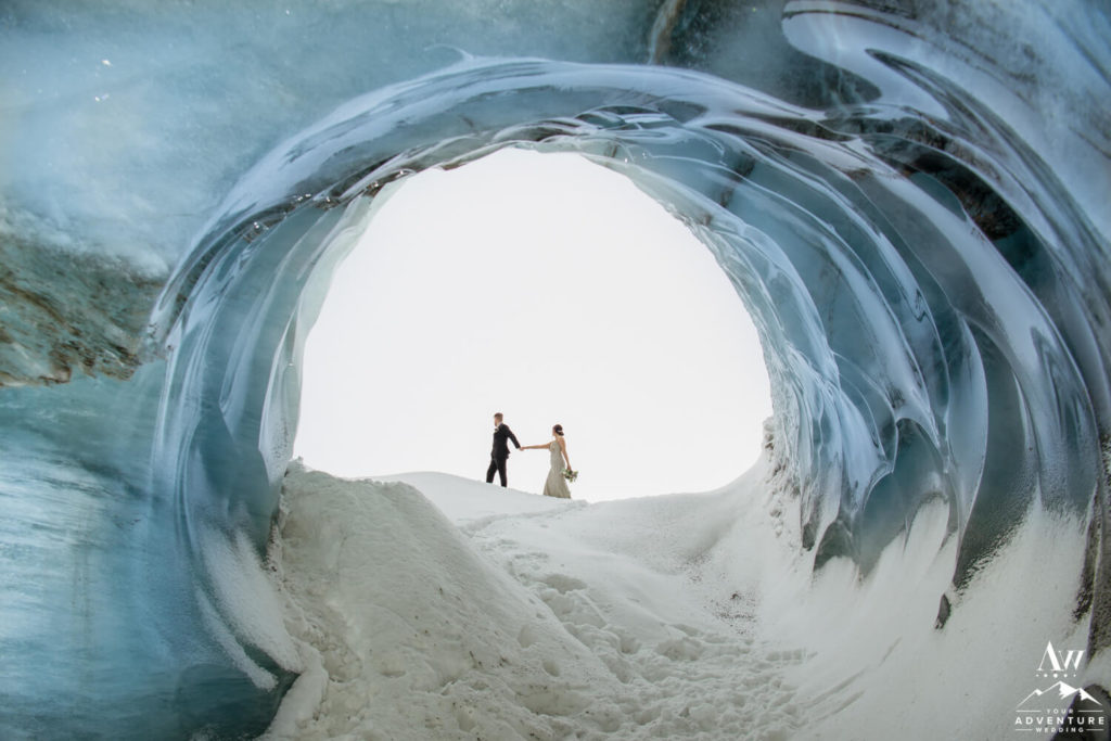 Luxury Ice Cave Elopement Couple Walking