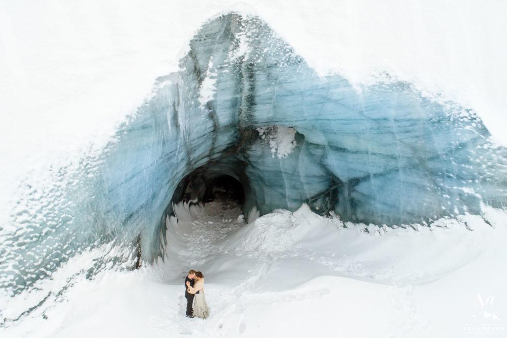 Ice Cave Drone Wedding Photos