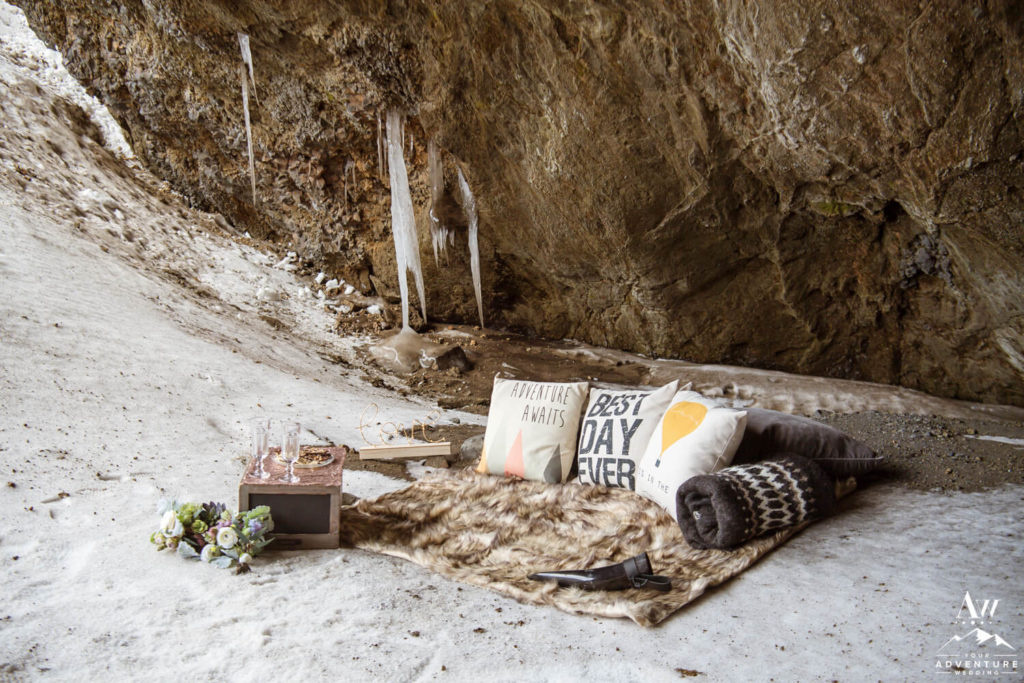 Iceland Luxury Picnic inside a natural cave