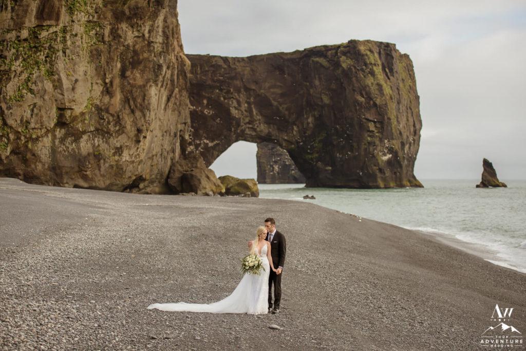 Black Sand Beach Iceland Wedding Couple