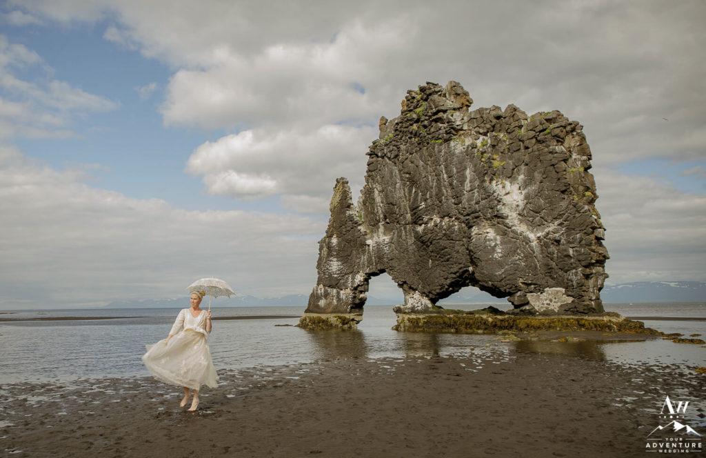 Iceland Elopement Bride at Hvítserkur