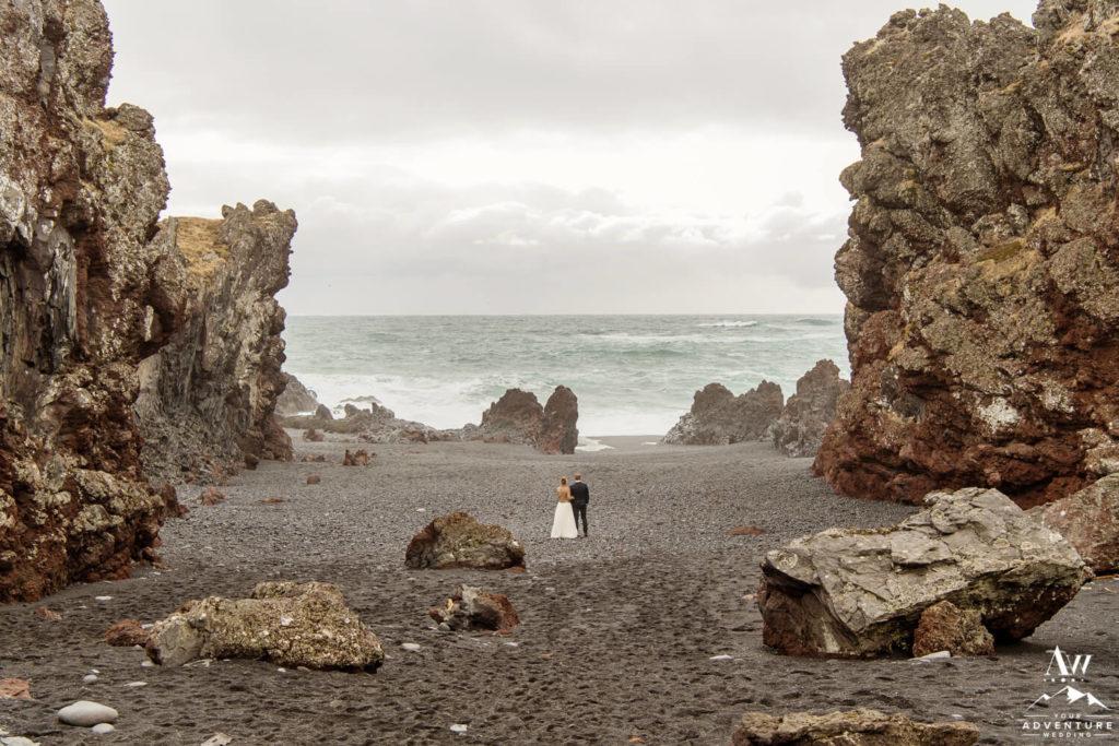 Iceland Wedding Photos at Djúpalónssandur Black Beach