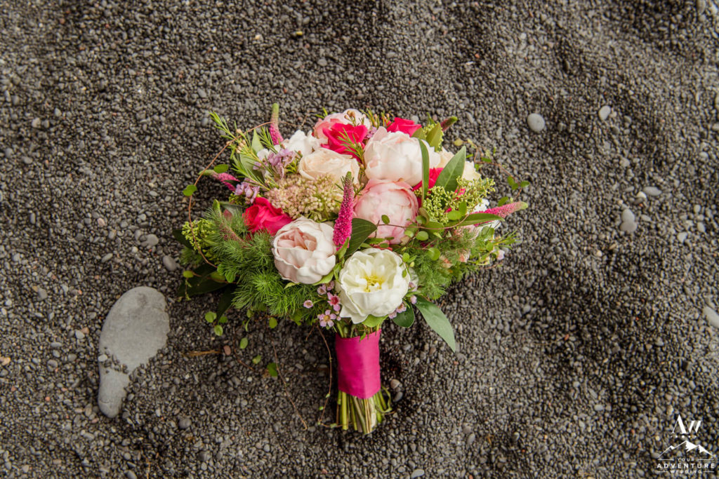 Pink and White Iceland Wedding Bouquet on Black Beach