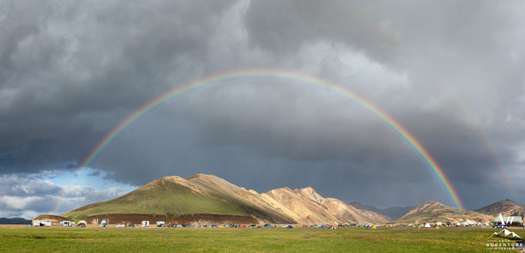 Landmannalaugar Ten City with rainbow
