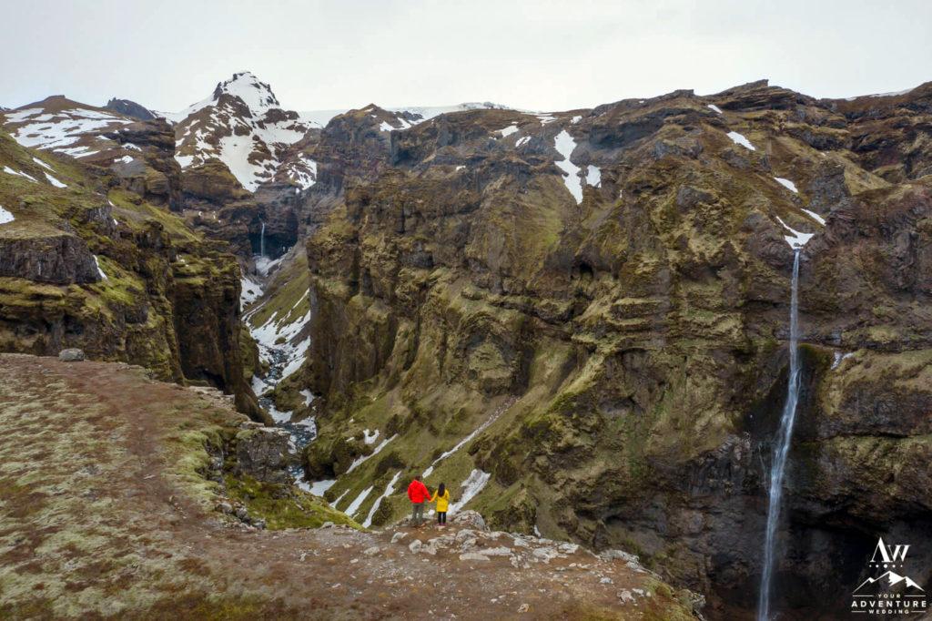 Múlagljúfur Hiking Elopement Couple at the Canyon