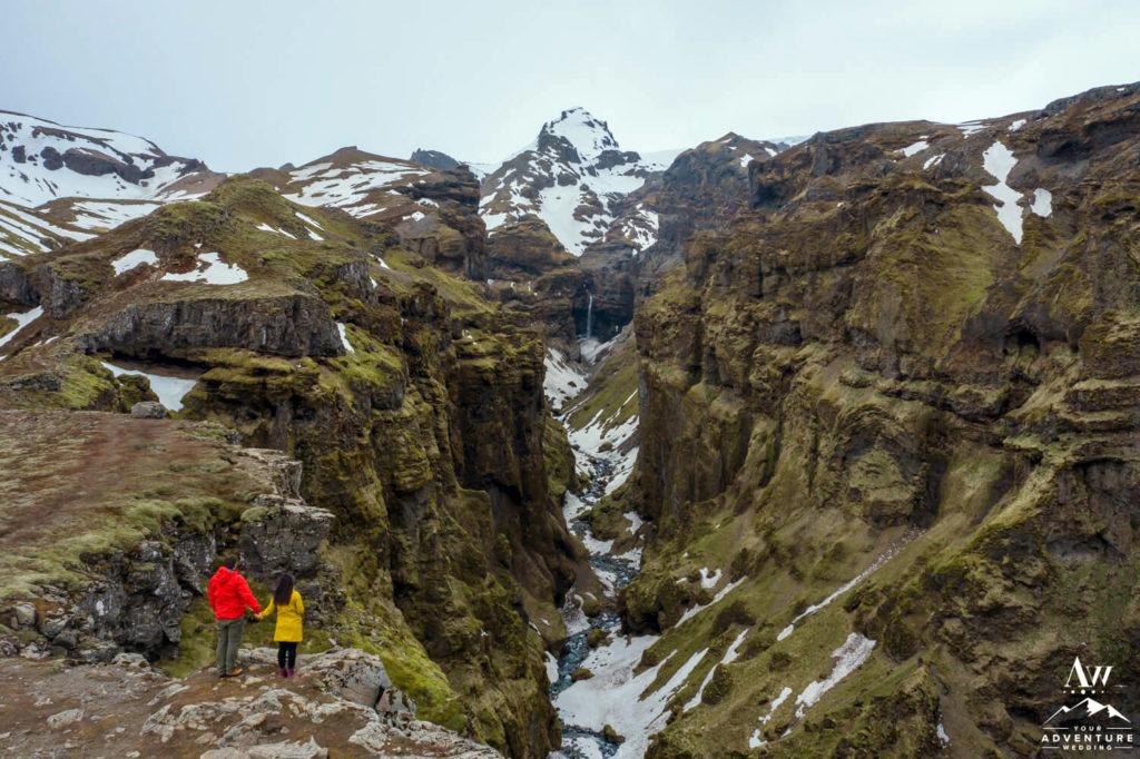 Iceland Elopement Couple Standing at Múlagljúfur