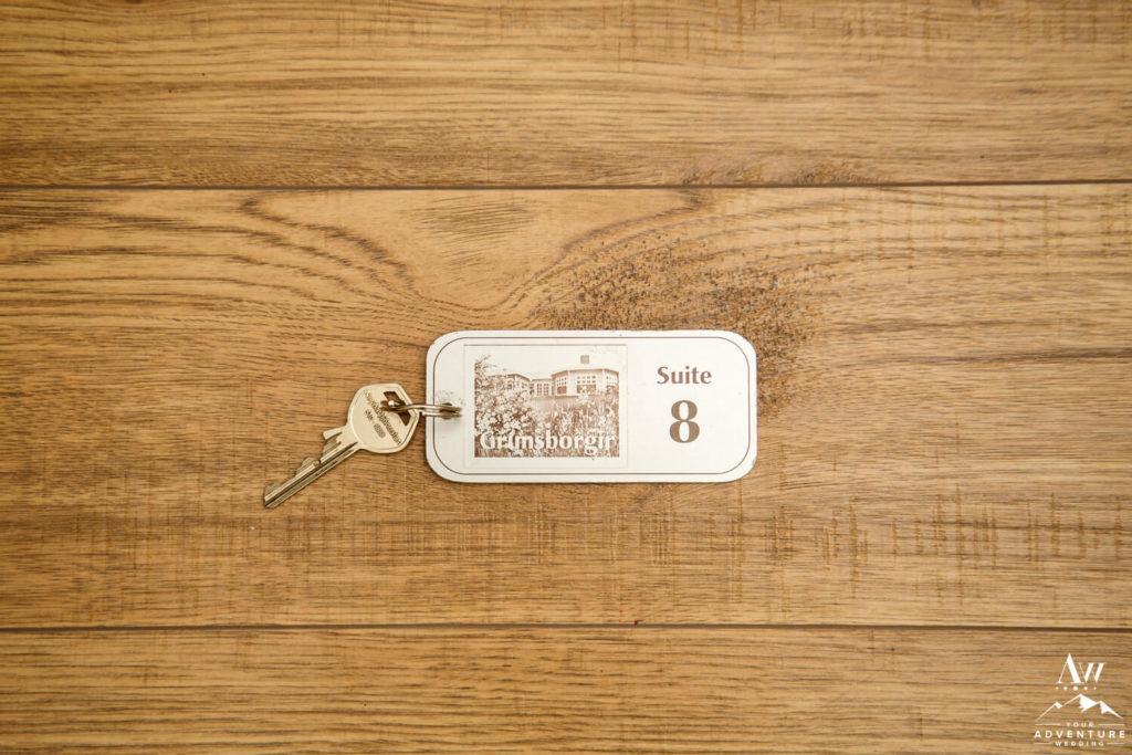 Iceland Elopement Couples Key to Hotel Grimsborgir Suite