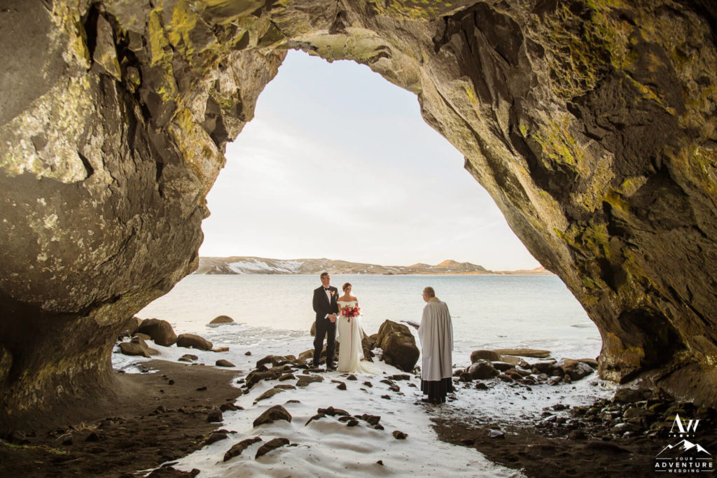 Iceland Elopement Ceremony inside of a Cave