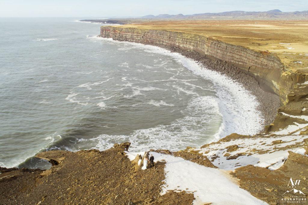 Golden Cliffs Iceland Elopement Couple