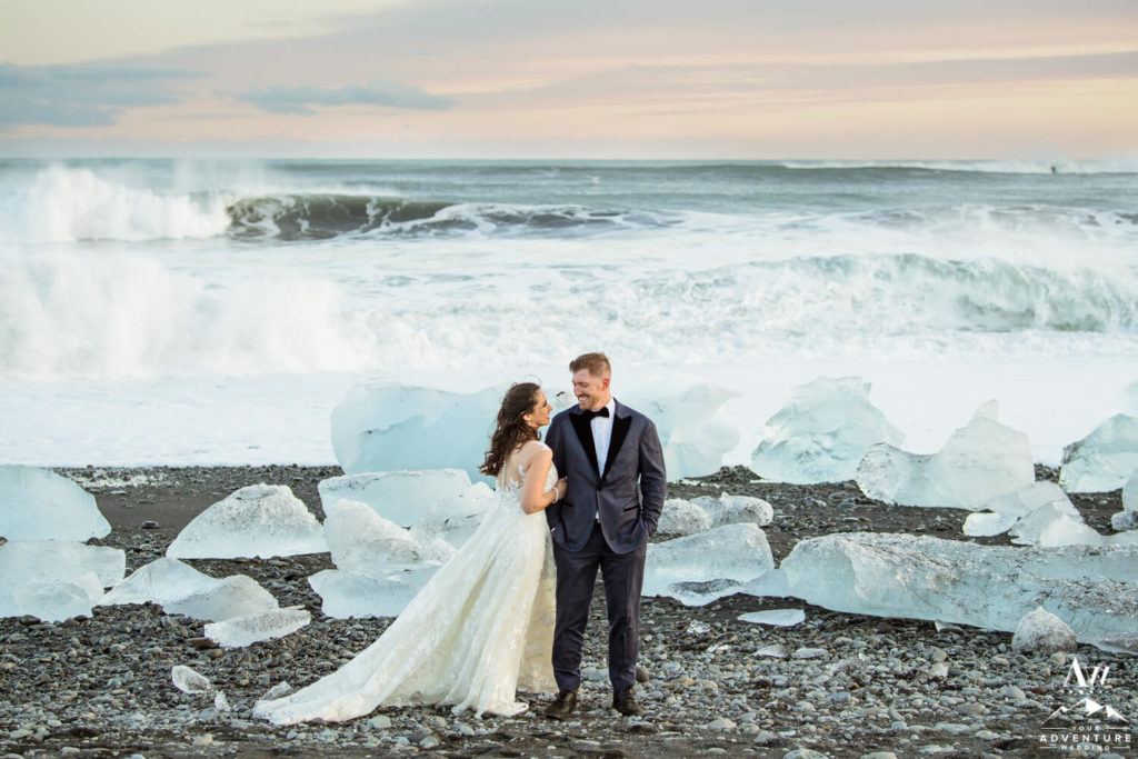 Iceland elopement couple on diamond beach