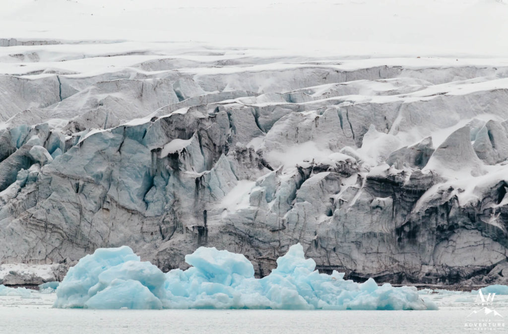 Glacier and icebergs in Svalbard