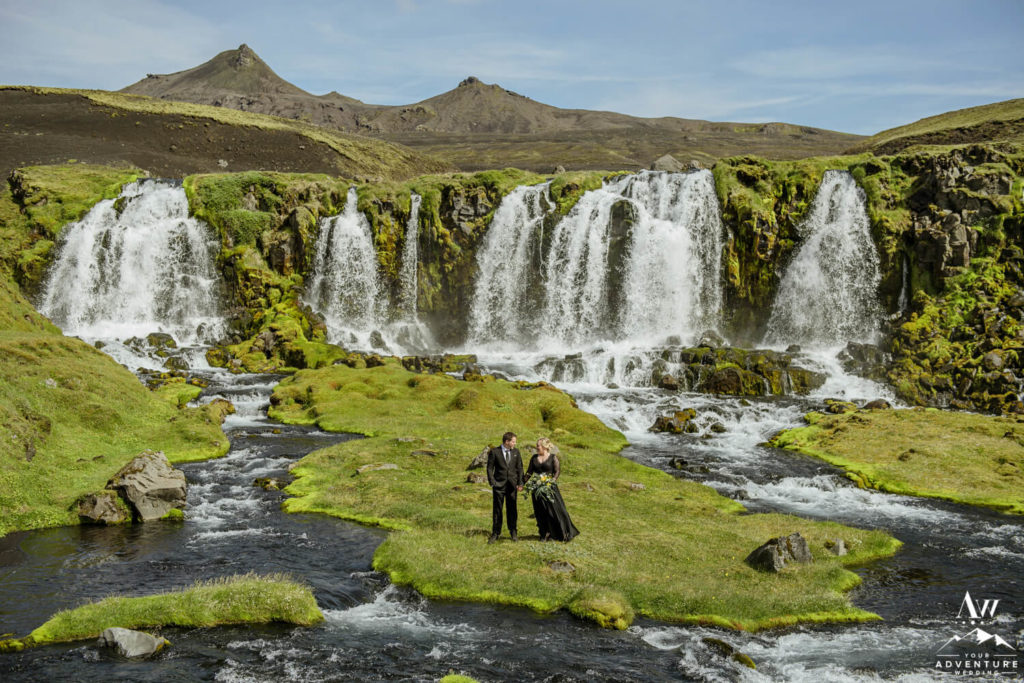 Iceland Elopement Couple at Highland Waterfall