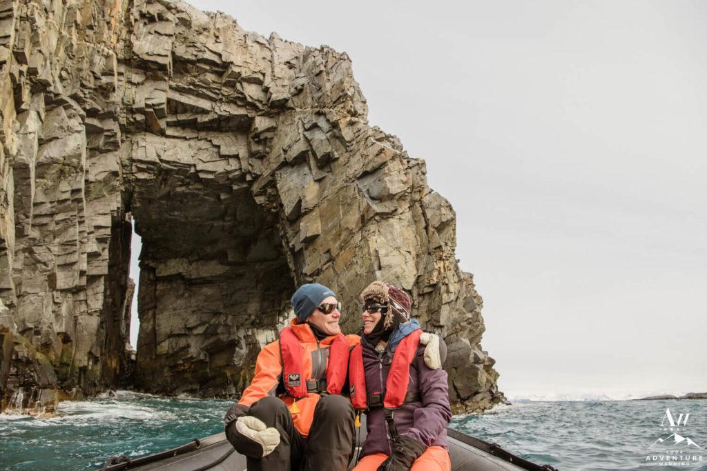 Antarctica wedding couple on boat