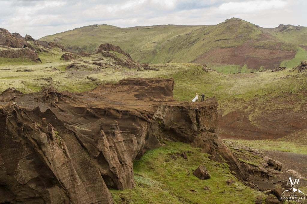 Iceland Wedding Couple on Cliff