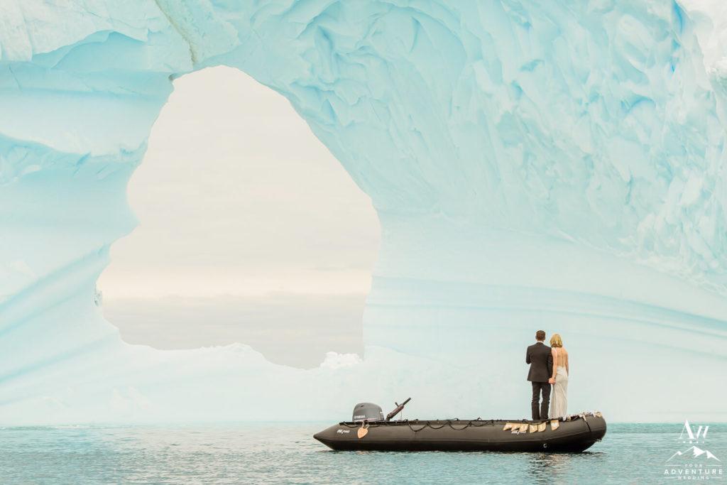 Antarctica Elopement in front of iceberg