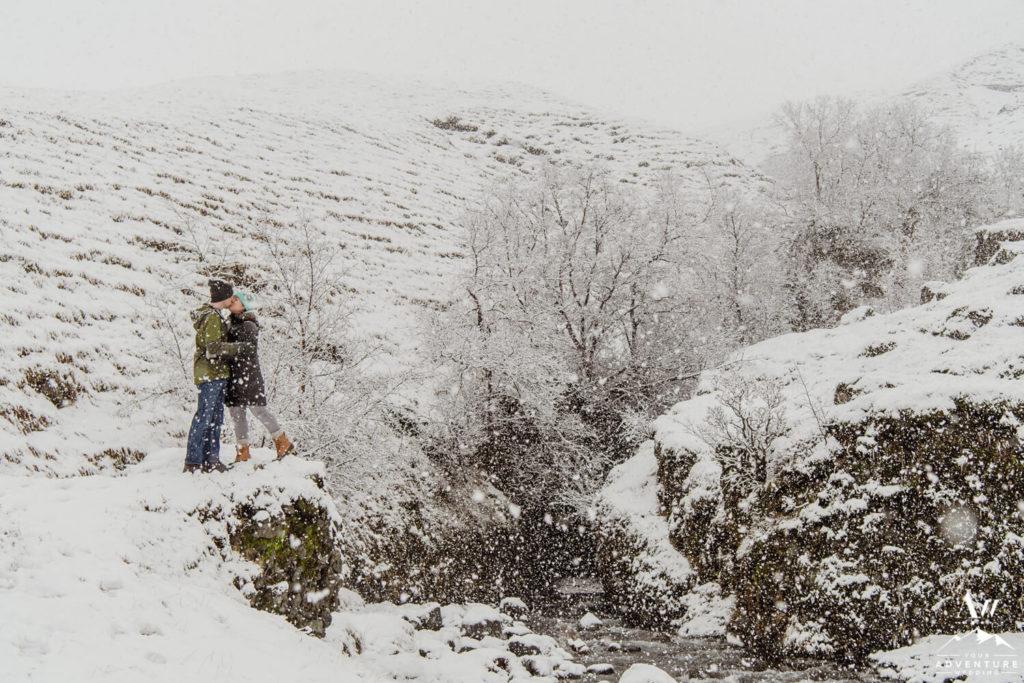 Outside of Nauthúsagil Waterfall in Winter