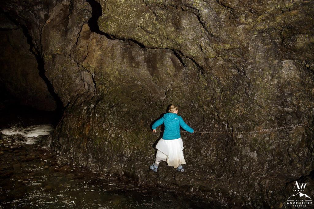Iceland wedding couple hiking Nauthúsagil Waterfall