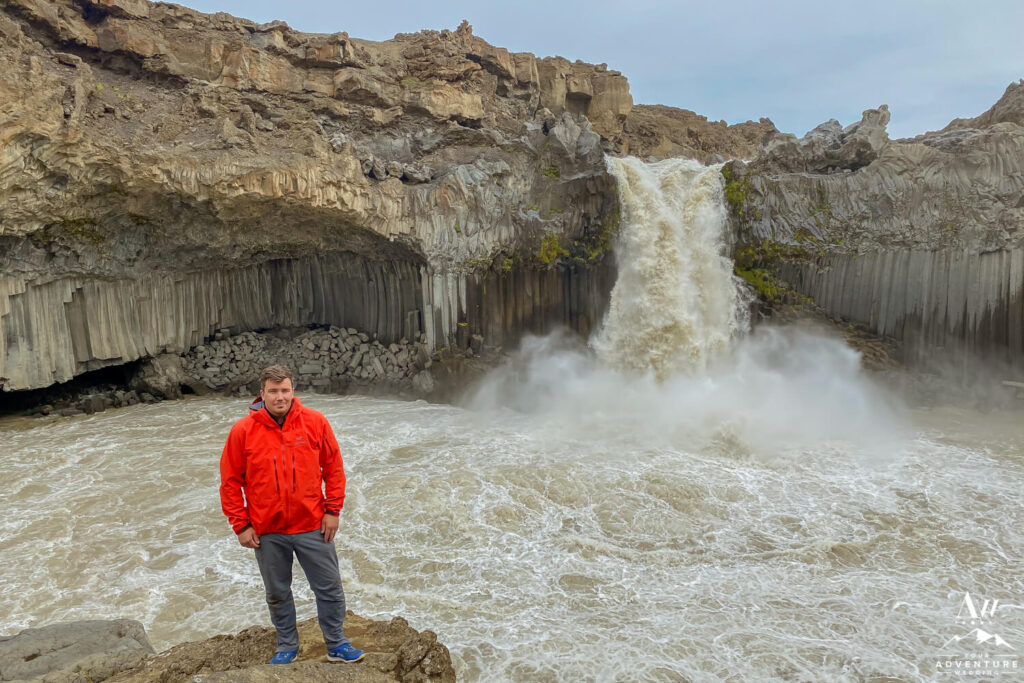 Iceland Wedding Groom at Aldeyjarfoss Waterfall