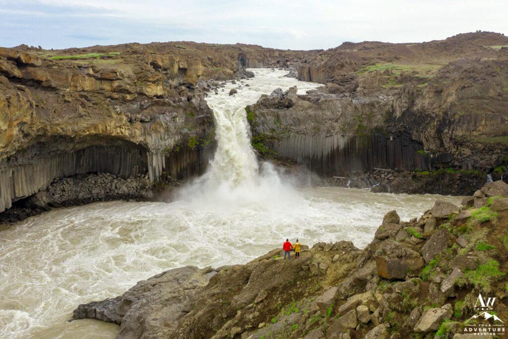 Iceland Elopement couple at Aldeyjarfoss Waterfall