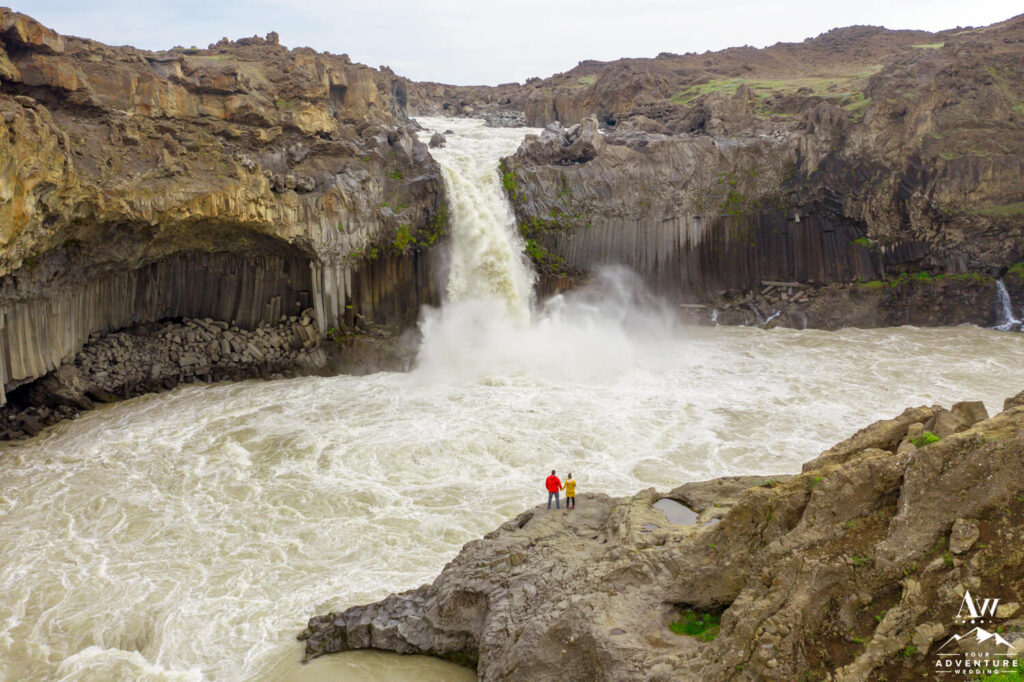 Iceland Elopement Couple at Aldeyjarfoss Waterfall