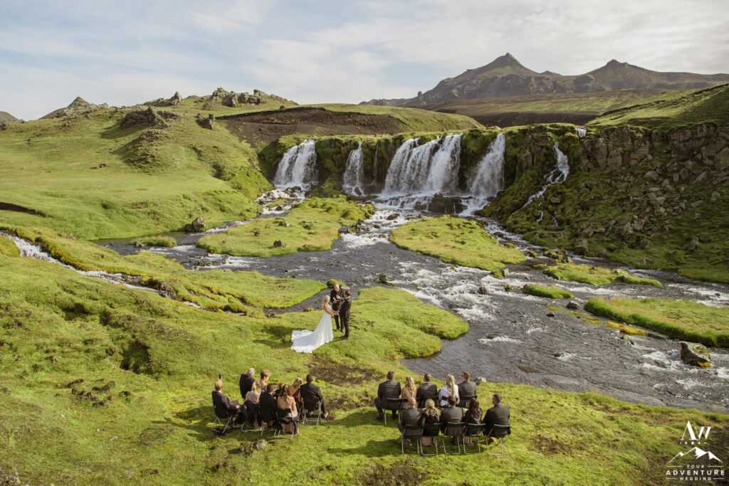 Waterfall Wedding Ceremony in Iceland