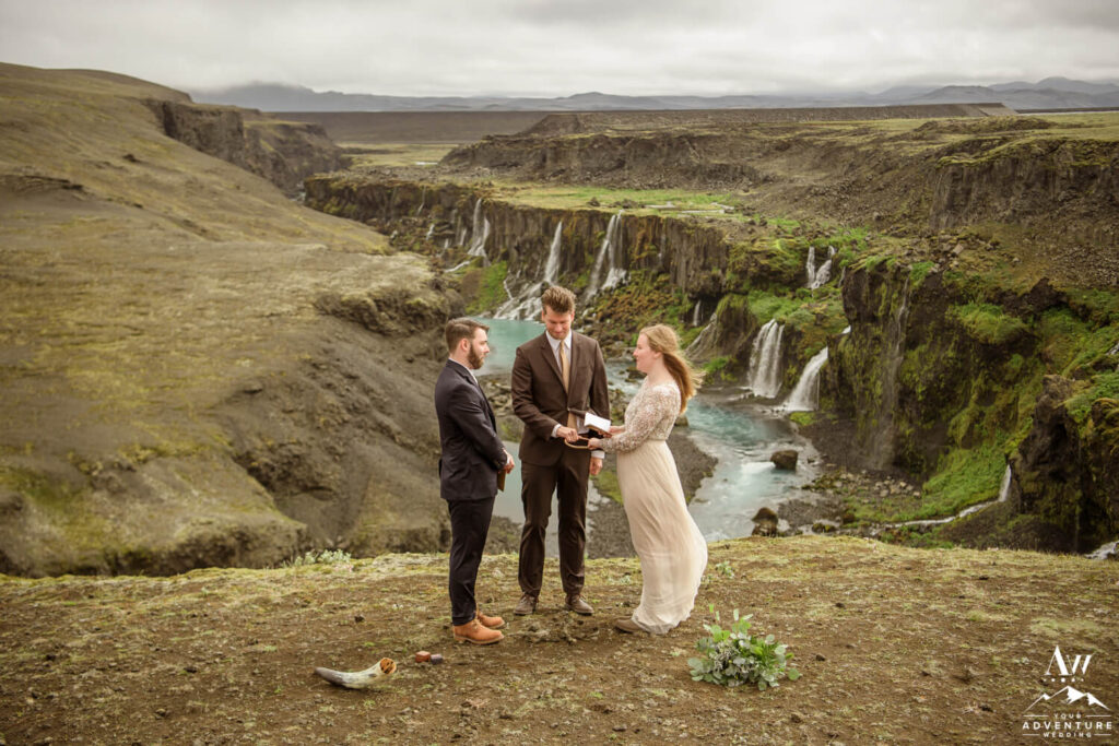 Canyon Waterfall Wedding in Iceland