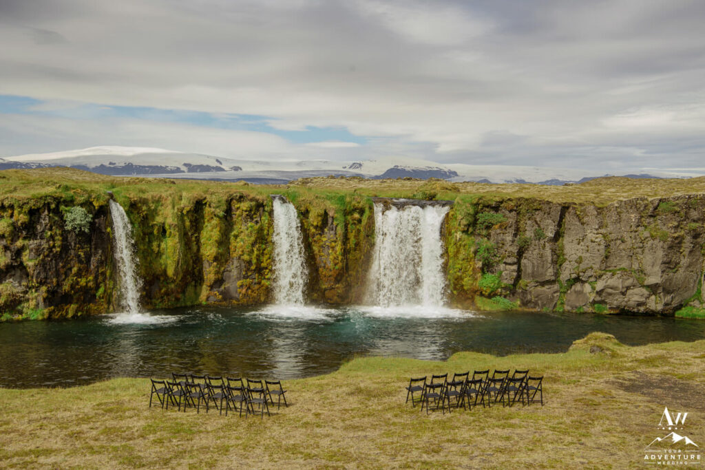 Iceland Wedding Waterfall Ceremony Setup