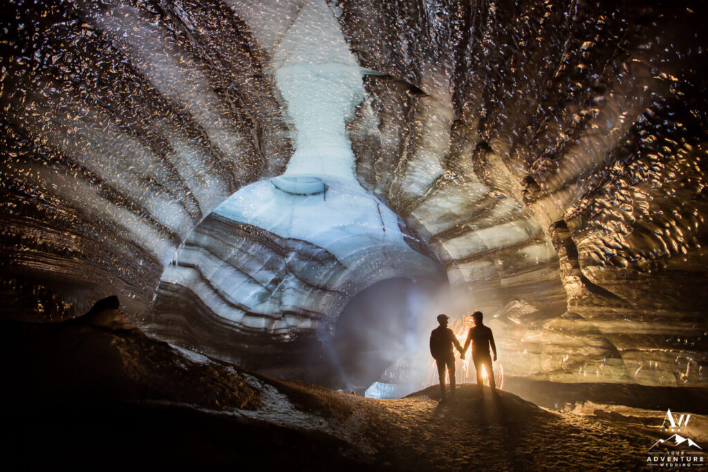 March Ice Cave Wedding with firewords