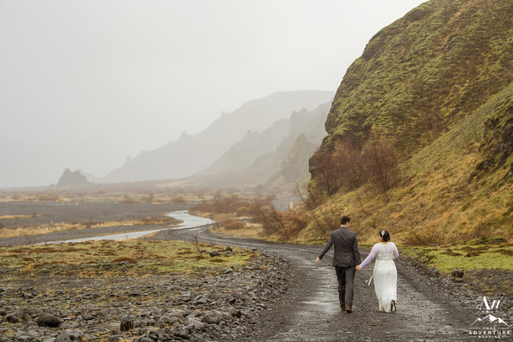 Iceland Wedding Couple Exploring Thórsmörk