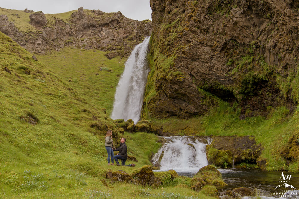Iceland Waterfall Proposal Couple