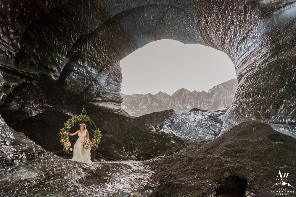 Floral Swing Anniversary Session Inside an Ice Cave