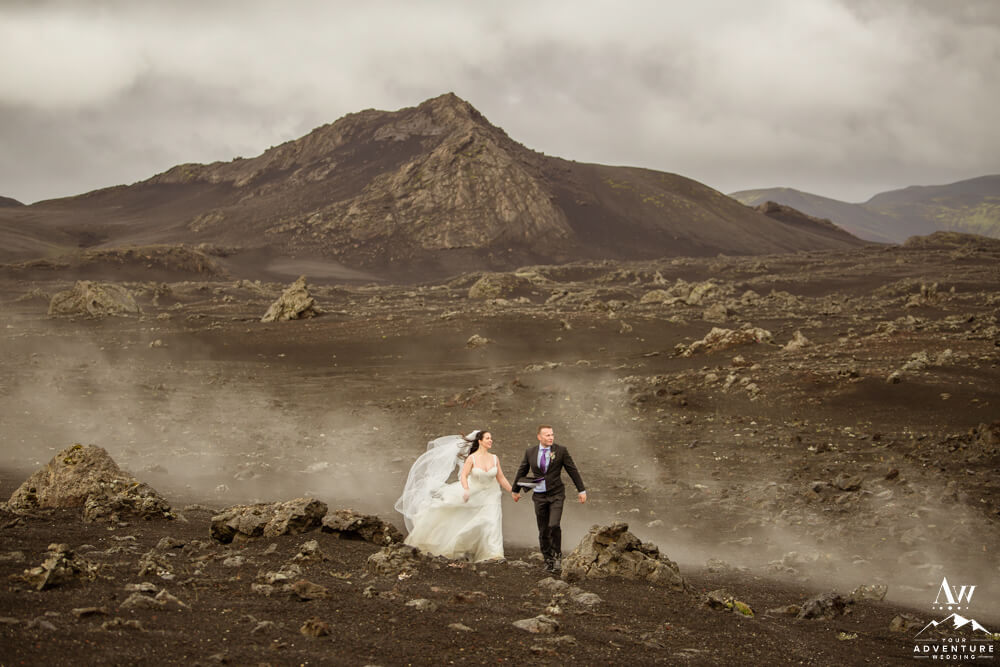 Iceland Wedding Couple walking through Smoke Iceland Special Effects