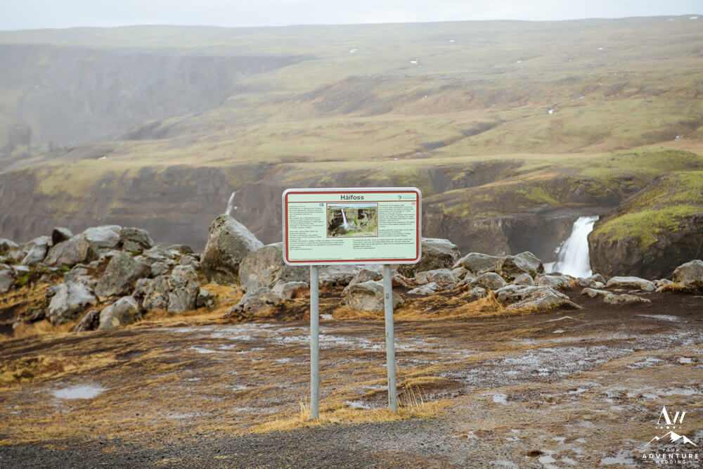 Sign at Haifoss Waterfall