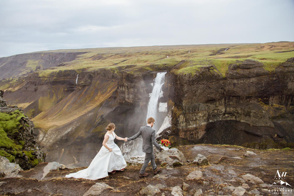 Wedding Couple at Haifoss Waterfall