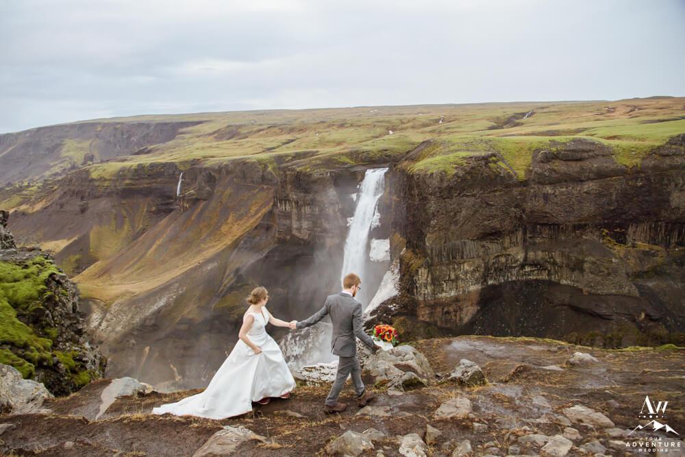 Wedding Couple at Haifoss Waterfall
