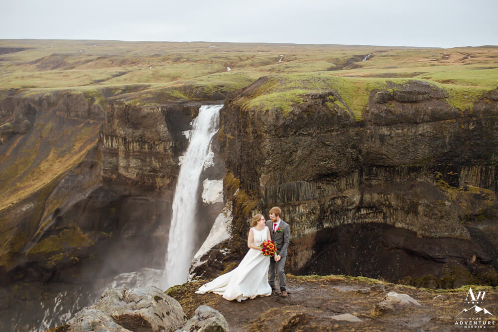Haifoss Waterfall Wedding Couple