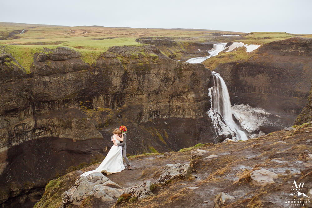 Iceland Wedding Couple at Haifoss Waterfall