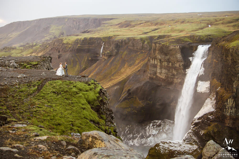 Iceland Wedding Couple at Haifoss