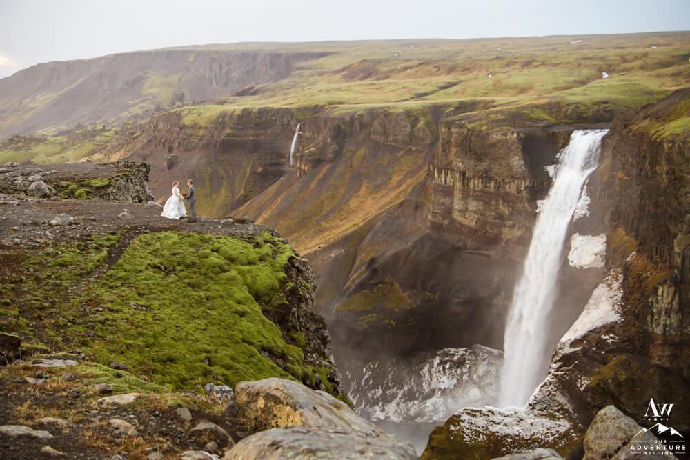 Iceland Wedding Couple at Haifoss