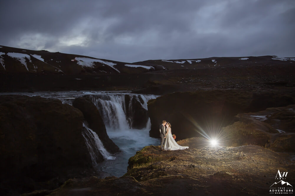 Iceland nighttime wedding photos